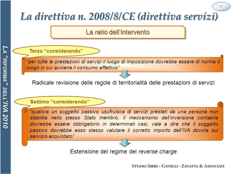 Le prestazioni di servizi sono disciplinate in un unico corpo normativo nel D.P.R.