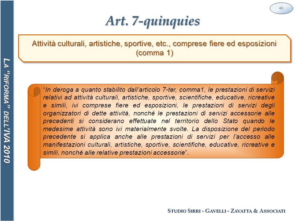 """Art. 7-quinquies 40 Attività culturali, artistiche, sportive, etc., comprese fiere ed esposizioni (comma 1) """"In deroga a quanto stabilito dall'articol"""