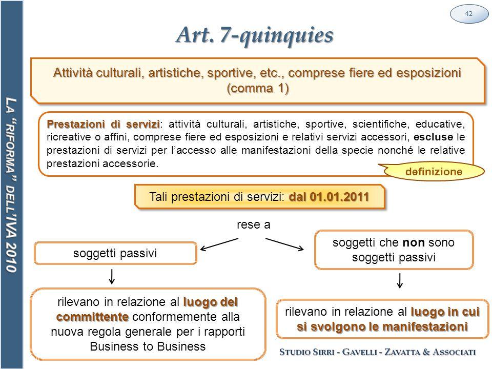 Art. 7-quinquies 42 soggetti passivi dal 01.01.2011 Tali prestazioni di servizi: dal 01.01.2011 soggetti che non sono soggetti passivi rese a luogo de
