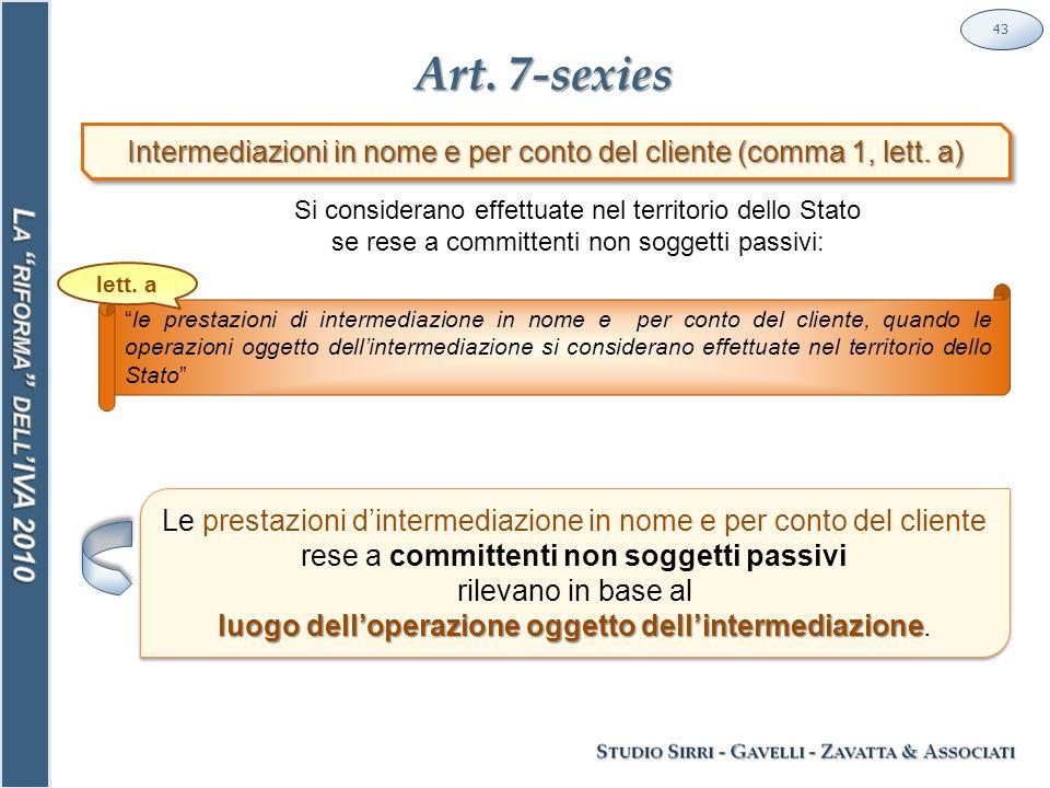 Art. 7-sexies 43 Intermediazioni in nome e per conto del cliente (comma 1, lett.