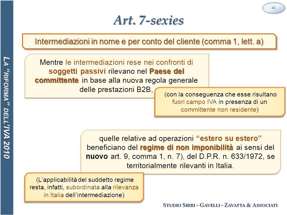 Art. 7-sexies 44 Intermediazioni in nome e per conto del cliente (comma 1, lett.