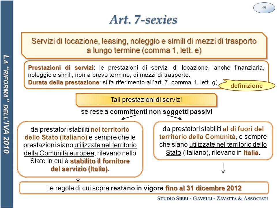 Art. 7-sexies 49 stabilito il fornitore da prestatori stabiliti nel territorio dello Stato (italiano) e sempre che le prestazioni siano utilizzate nel