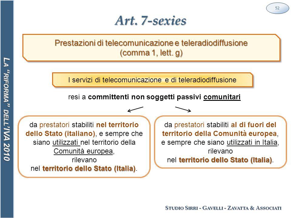 Art. 7-sexies 52 Prestazioni di telecomunicazione e teleradiodiffusione (comma 1, lett.