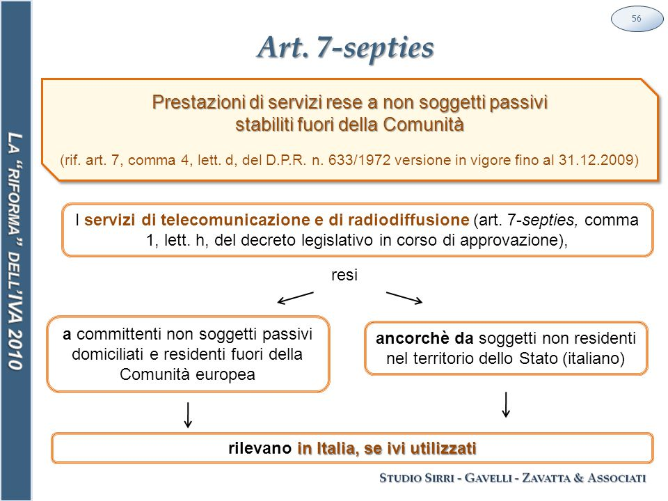 Art. 7-septies 56 I servizi di telecomunicazione e di radiodiffusione (art. 7-septies, comma 1, lett. h, del decreto legislativo in corso di approvazi