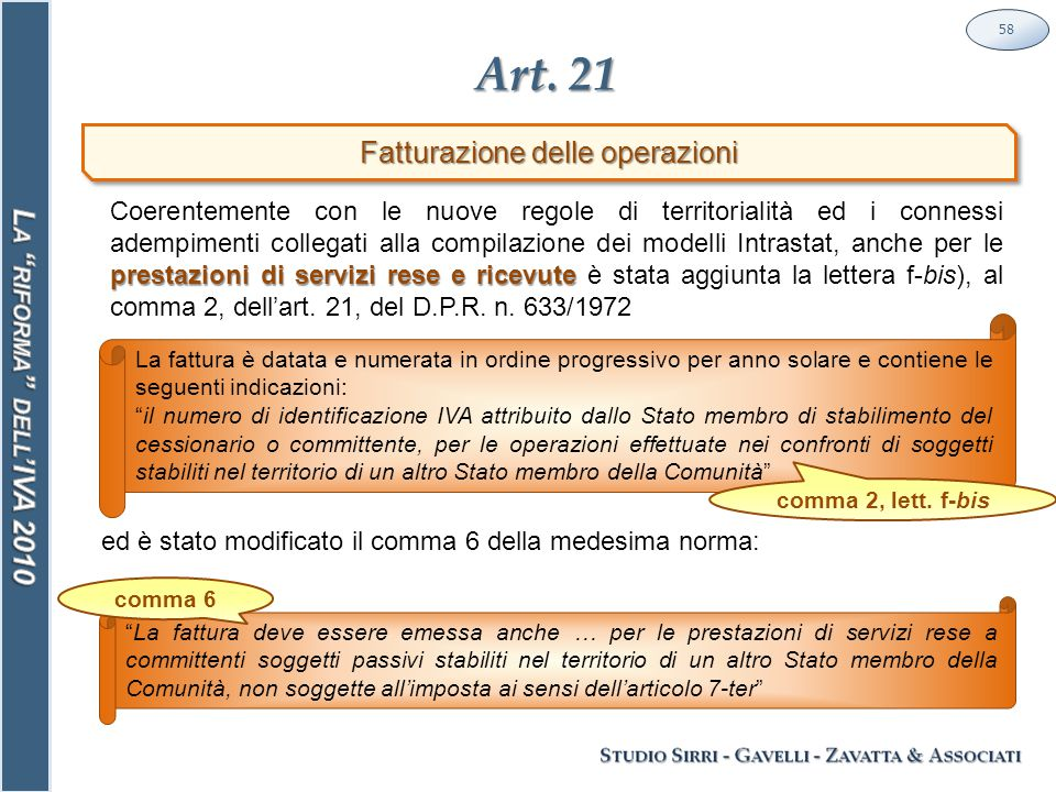 """Art. 21 58 Fatturazione delle operazioni La fattura è datata e numerata in ordine progressivo per anno solare e contiene le seguenti indicazioni: """"il"""