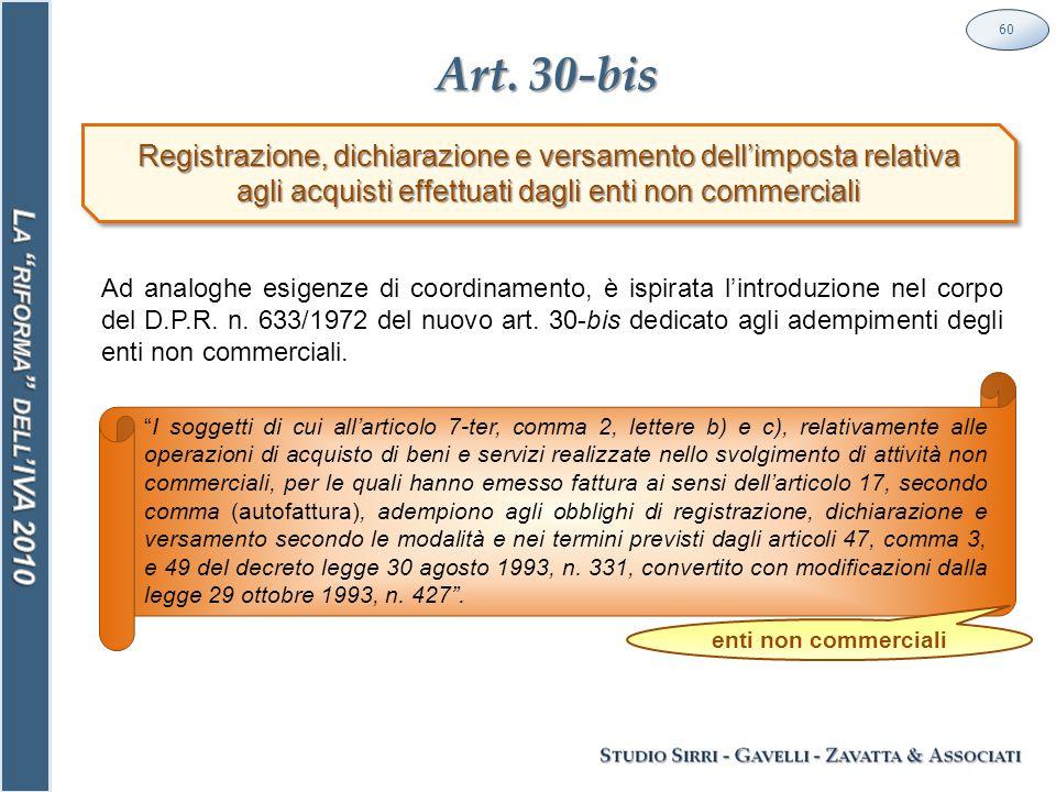 Art. 30-bis 60 Registrazione, dichiarazione e versamento dell'imposta relativa agli acquisti effettuati dagli enti non commerciali Registrazione, dich