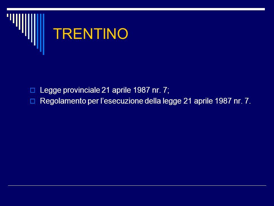 TRENTINO  Legge provinciale 21 aprile 1987 nr.