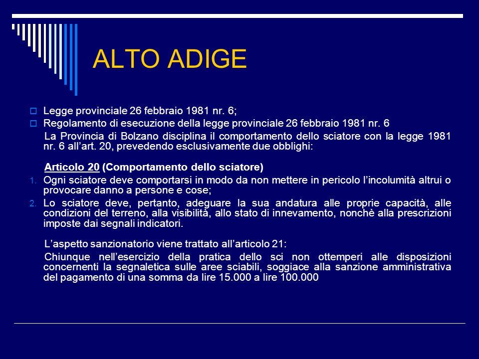 ALTO ADIGE  Legge provinciale 26 febbraio 1981 nr.