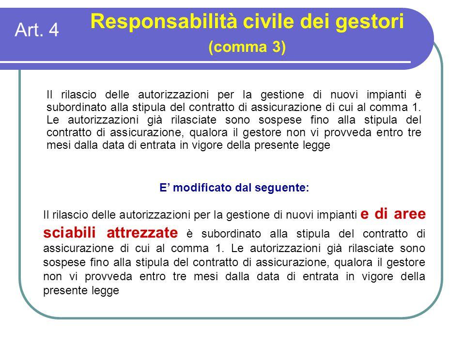 Art. 4 Responsabilità civile dei gestori (comma 3) E' modificato dal seguente: Il rilascio delle autorizzazioni per la gestione di nuovi impianti e di