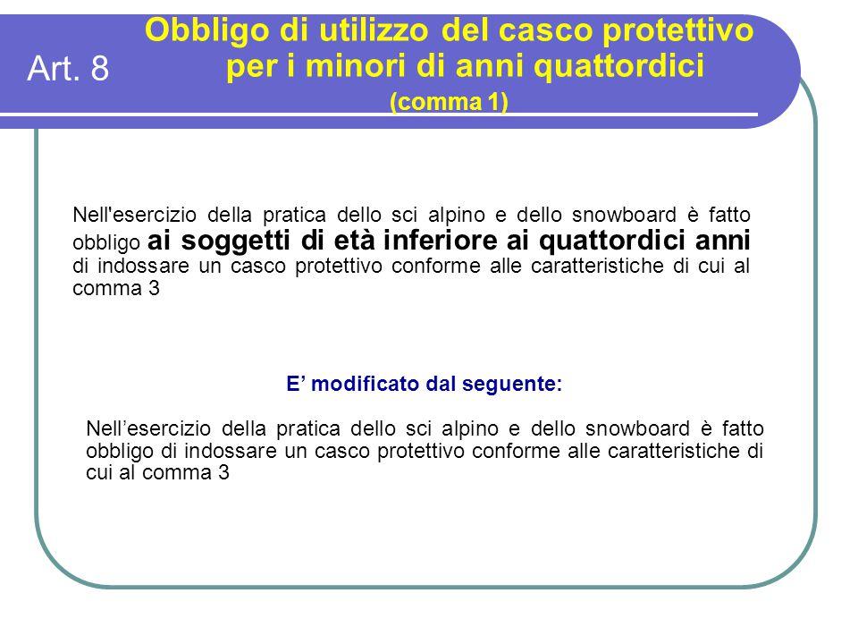 Art. 8 Obbligo di utilizzo del casco protettivo per i minori di anni quattordici (comma 1) Nell'esercizio della pratica dello sci alpino e dello snowb