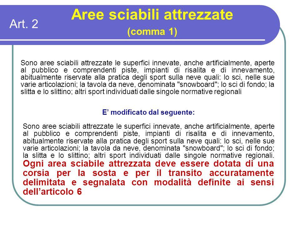 Art. 2 Aree sciabili attrezzate (comma 1) Sono aree sciabili attrezzate le superfici innevate, anche artificialmente, aperte al pubblico e comprendent