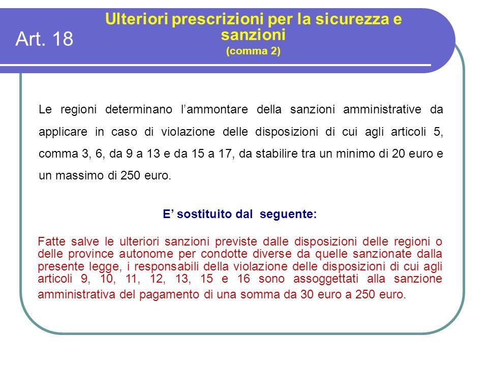 Art. 18 Ulteriori prescrizioni per la sicurezza e sanzioni (comma 2) Le regioni determinano l'ammontare della sanzioni amministrative da applicare in