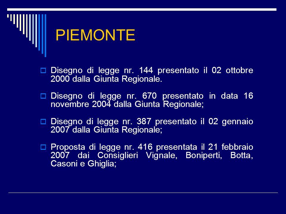 PIEMONTE  Disegno di legge nr. 144 presentato il 02 ottobre 2000 dalla Giunta Regionale.