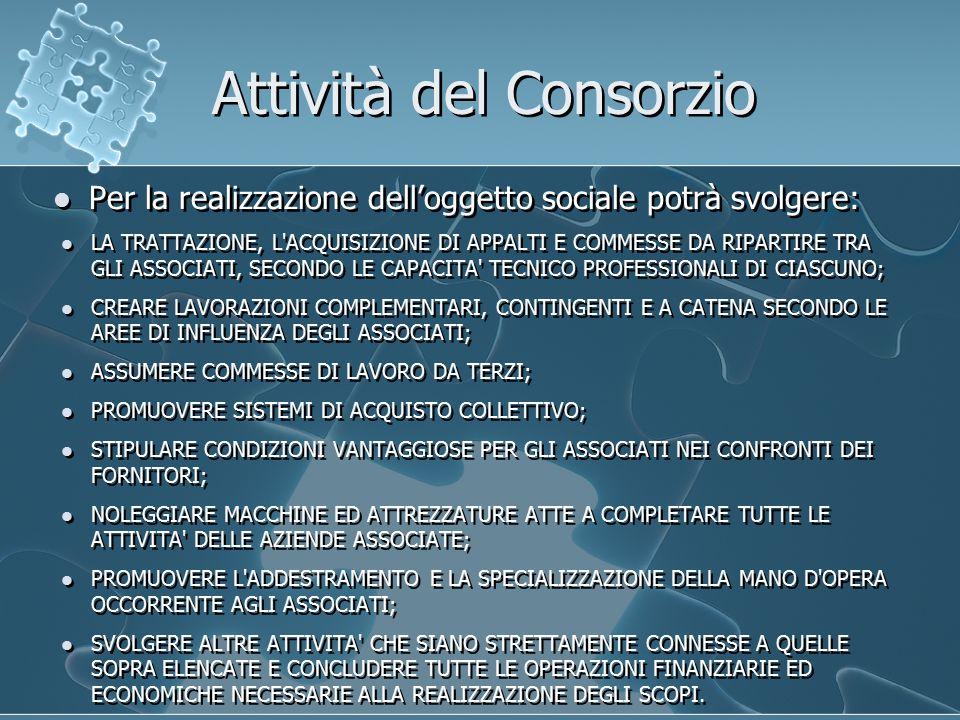 Attività del Consorzio Per la realizzazione dell'oggetto sociale potrà svolgere: LA TRATTAZIONE, L ACQUISIZIONE DI APPALTI E COMMESSE DA RIPARTIRE TRA GLI ASSOCIATI, SECONDO LE CAPACITA TECNICO PROFESSIONALI DI CIASCUNO; CREARE LAVORAZIONI COMPLEMENTARI, CONTINGENTI E A CATENA SECONDO LE AREE DI INFLUENZA DEGLI ASSOCIATI; ASSUMERE COMMESSE DI LAVORO DA TERZI; PROMUOVERE SISTEMI DI ACQUISTO COLLETTIVO; STIPULARE CONDIZIONI VANTAGGIOSE PER GLI ASSOCIATI NEI CONFRONTI DEI FORNITORI; NOLEGGIARE MACCHINE ED ATTREZZATURE ATTE A COMPLETARE TUTTE LE ATTIVITA DELLE AZIENDE ASSOCIATE; PROMUOVERE L ADDESTRAMENTO E LA SPECIALIZZAZIONE DELLA MANO D OPERA OCCORRENTE AGLI ASSOCIATI; SVOLGERE ALTRE ATTIVITA CHE SIANO STRETTAMENTE CONNESSE A QUELLE SOPRA ELENCATE E CONCLUDERE TUTTE LE OPERAZIONI FINANZIARIE ED ECONOMICHE NECESSARIE ALLA REALIZZAZIONE DEGLI SCOPI.