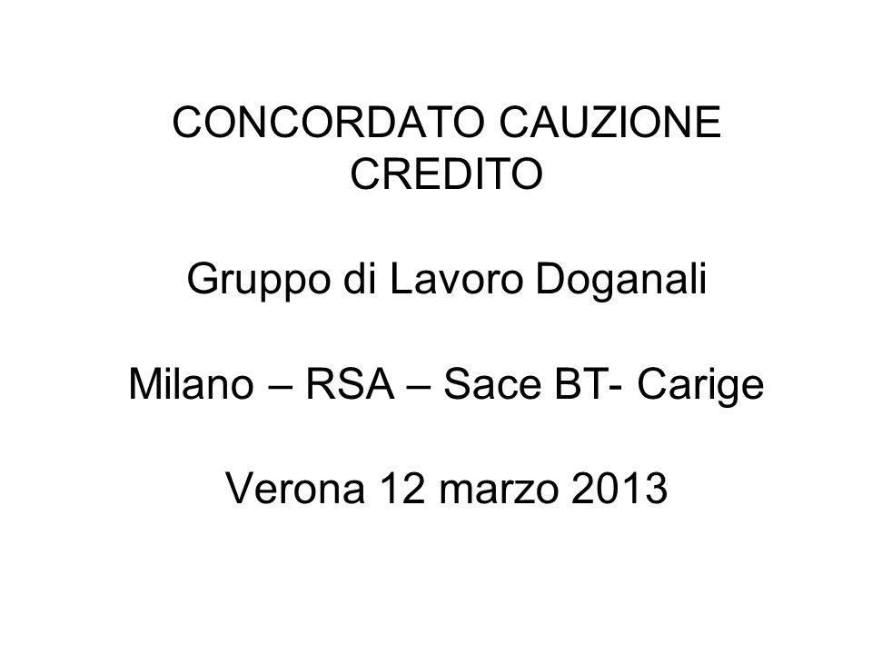 CONCORDATO CAUZIONE CREDITO Gruppo di Lavoro Doganali Milano – RSA – Sace BT- Carige Verona 12 marzo 2013