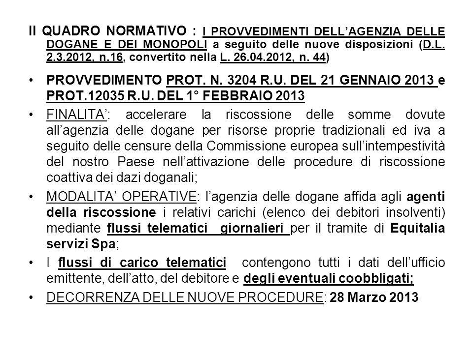 Il QUADRO NORMATIVO : I PROVVEDIMENTI DELL'AGENZIA DELLE DOGANE E DEI MONOPOLI a seguito delle nuove disposizioni (D.L.