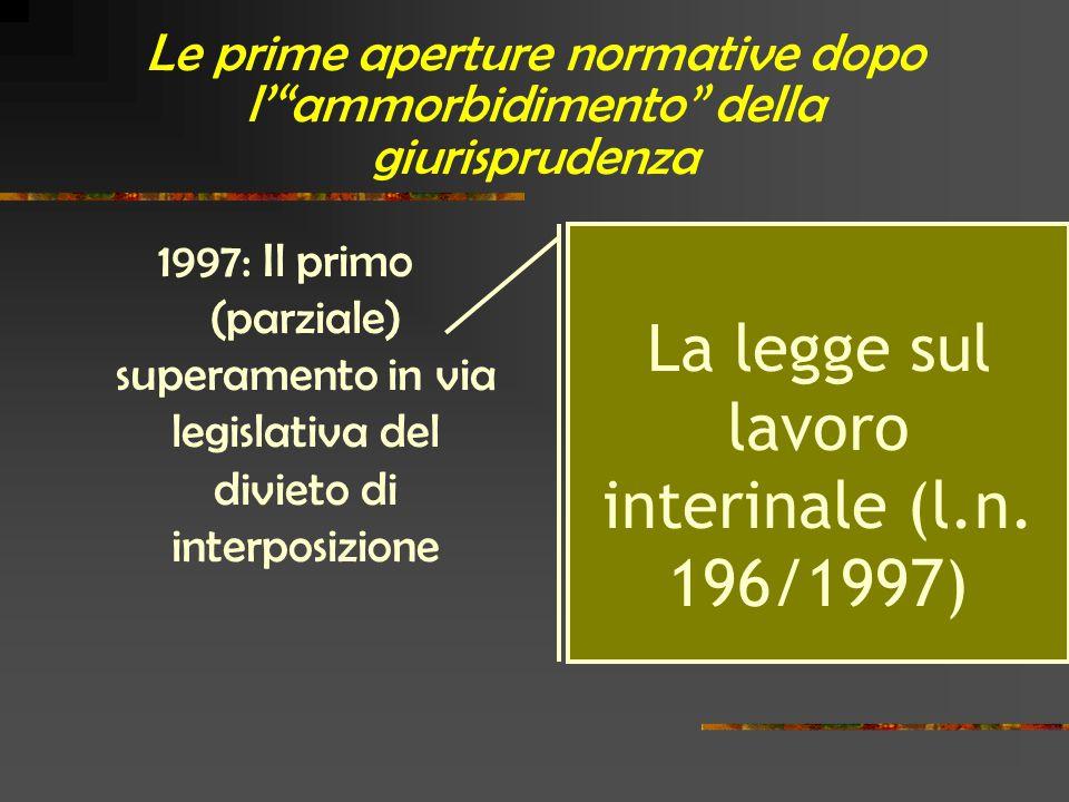 Le prime aperture normative dopo l' ammorbidimento della giurisprudenza 1997: Il primo (parziale) superamento in via legislativa del divieto di interposizione La legge sul lavoro interinale (l.n.