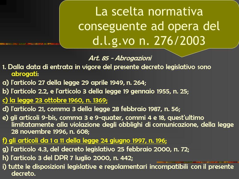 Art. 85 - Abrogazioni 1. Dalla data di entrata in vigore del presente decreto legislativo sono abrogati: a) l'articolo 27 della legge 29 aprile 1949,