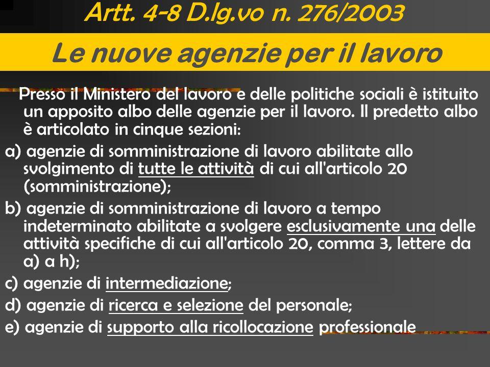 Artt. 4-8 D.lg.vo n. 276/2003 Presso il Ministero del lavoro e delle politiche sociali è istituito un apposito albo delle agenzie per il lavoro. Il pr