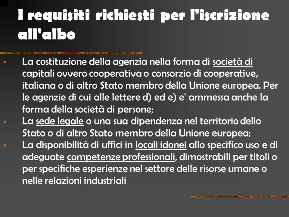  La costituzione della agenzia nella forma di società di capitali ovvero cooperativa o consorzio di cooperative, italiana o di altro Stato membro della Unione europea.