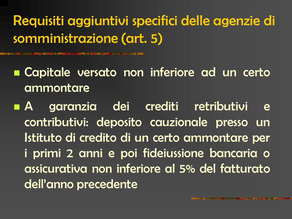 Requisiti aggiuntivi specifici delle agenzie di somministrazione (art.