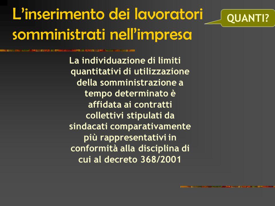 L'inserimento dei lavoratori somministrati nell'impresa La individuazione di limiti quantitativi di utilizzazione della somministrazione a tempo determinato è affidata ai contratti collettivi stipulati da sindacati comparativamente più rappresentativi in conformità alla disciplina di cui al decreto 368/2001 QUANTI