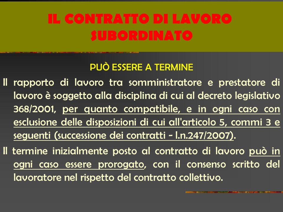 PUÒ ESSERE A TERMINE Il rapporto di lavoro tra somministratore e prestatore di lavoro è soggetto alla disciplina di cui al decreto legislativo 368/2001, per quanto compatibile, e in ogni caso con esclusione delle disposizioni di cui all articolo 5, commi 3 e seguenti (successione dei contratti - l.n.247/2007).