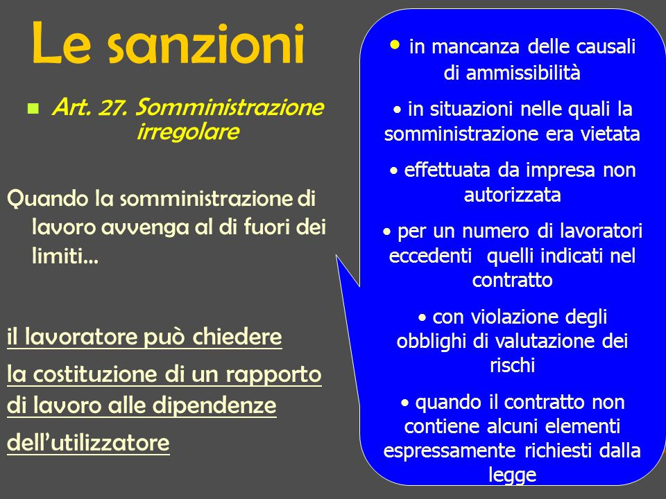 Le sanzioni Art.27.