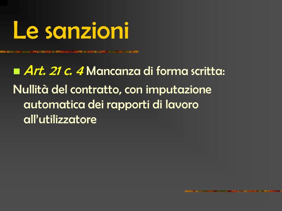 Le sanzioni Art.21 c.