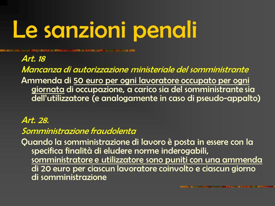 Le sanzioni penali Art.