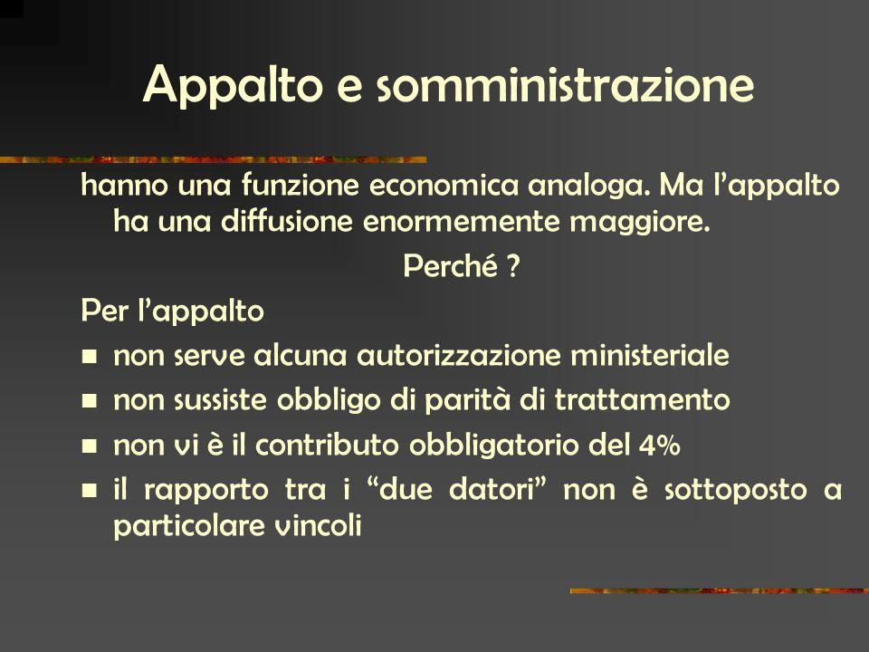Appalto e somministrazione hanno una funzione economica analoga.