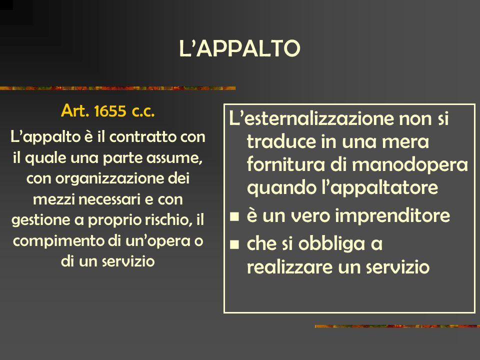 L'APPALTO L'esternalizzazione non si traduce in una mera fornitura di manodopera quando l'appaltatore è un vero imprenditore che si obbliga a realizzare un servizio Art.