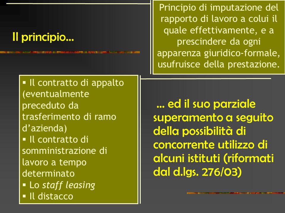 Il principio… … ed il suo parziale superamento a seguito della possibilità di concorrente utilizzo di alcuni istituti (riformati dal d.lgs.