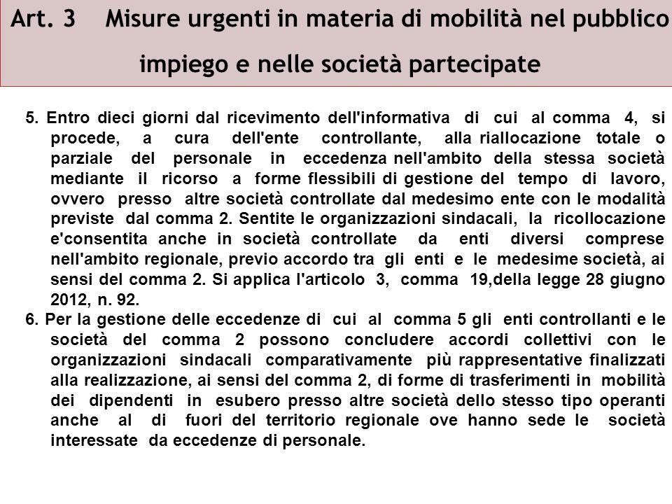 Art. 3 Misure urgenti in materia di mobilità nel pubblico impiego e nelle società partecipate 5.
