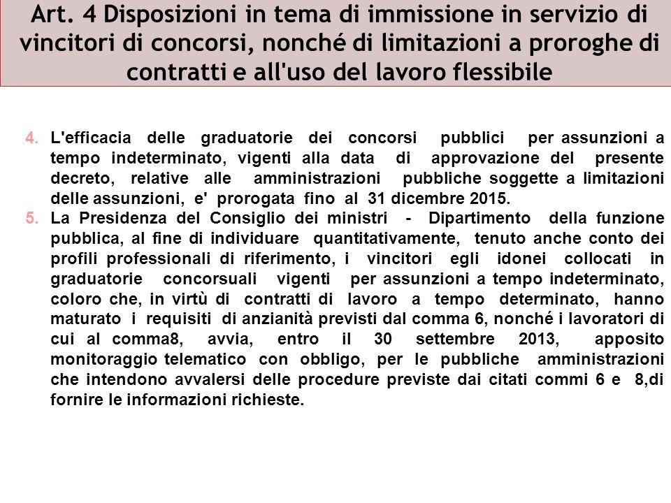 Art. 4 Disposizioni in tema di immissione in servizio di vincitori di concorsi, nonché di limitazioni a proroghe di contratti e all'uso del lavoro fle