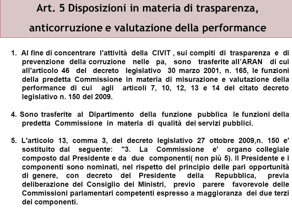 Art. 5 Disposizioni in materia di trasparenza, anticorruzione e valutazione della performance 1.