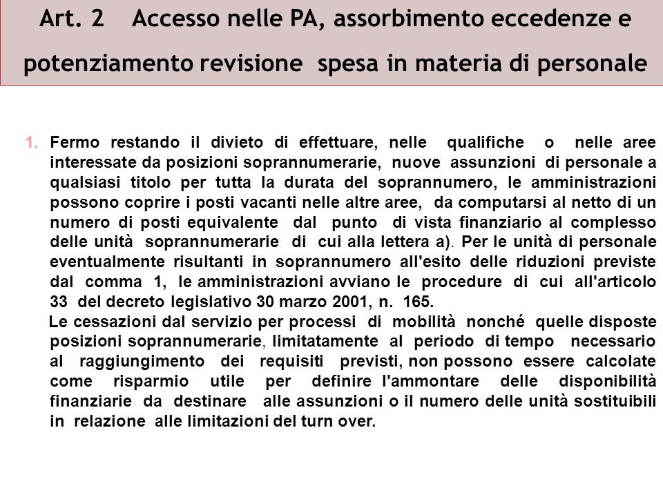 Art. 2 Accesso nelle PA, assorbimento eccedenze e potenziamento revisione spesa in materia di personale 1.Fermo restando il divieto di effettuare, nel
