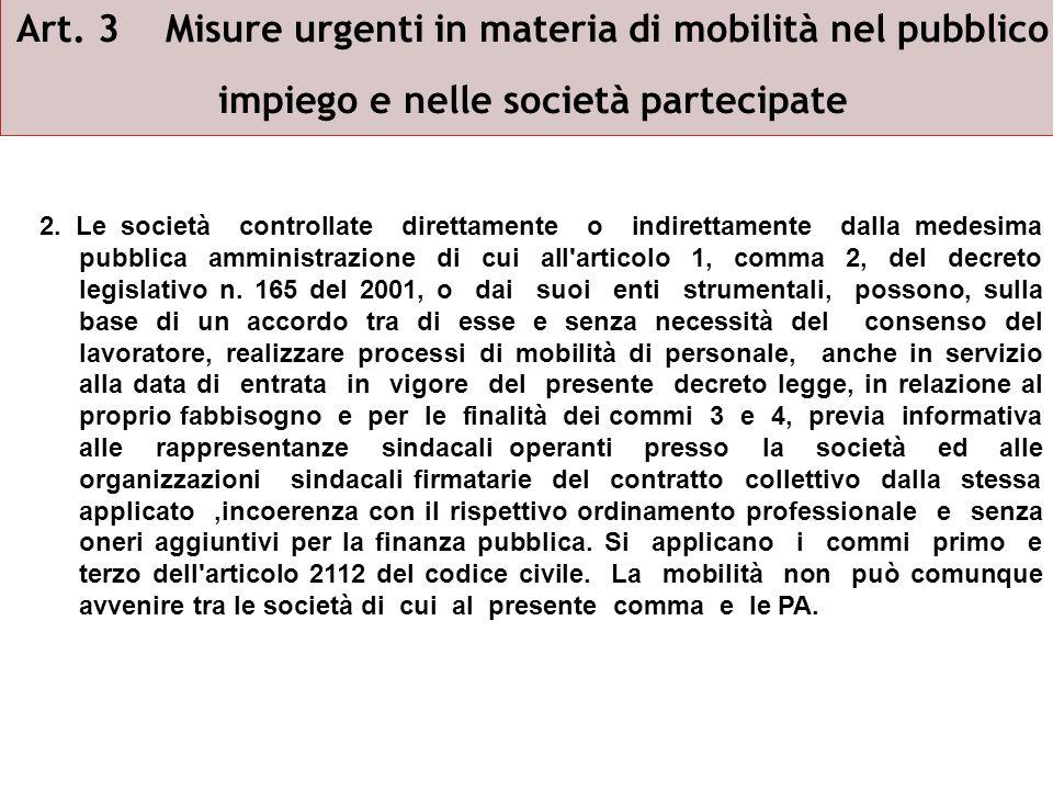 Art.3 Misure urgenti in materia di mobilità nel pubblico impiego e nelle società partecipate 3.