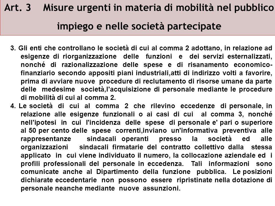 Art.3 Misure urgenti in materia di mobilità nel pubblico impiego e nelle società partecipate 5.