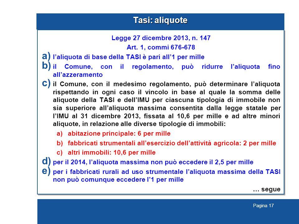 Pagina 17 Tasi: aliquote Legge 27 dicembre 2013, n.
