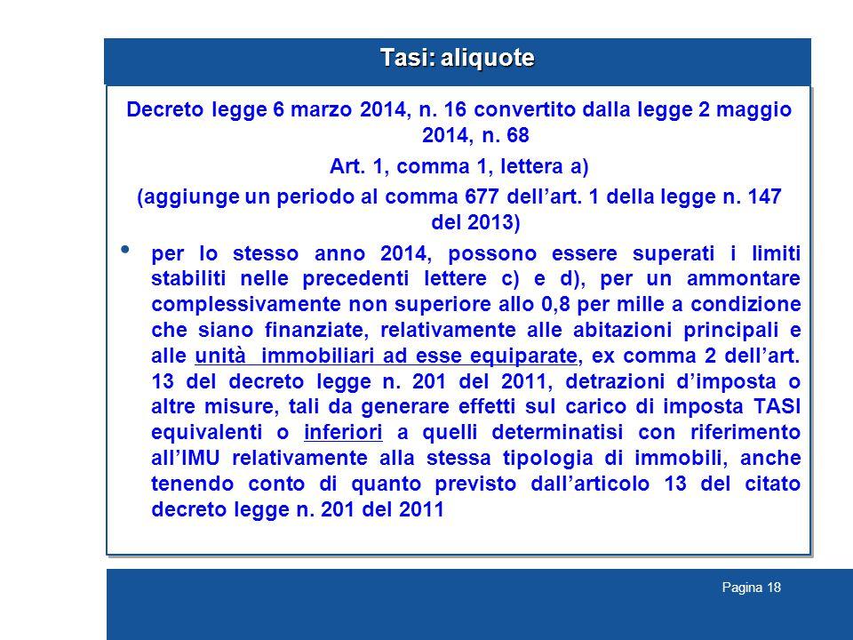Pagina 18 Tasi: aliquote Decreto legge 6 marzo 2014, n.
