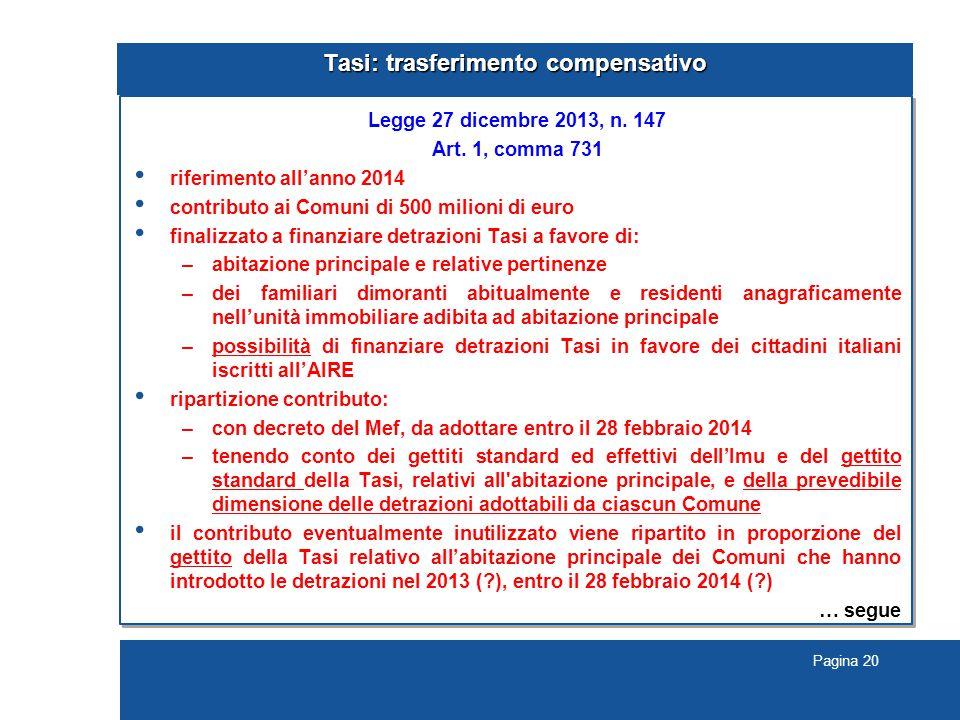 Pagina 20 Tasi: trasferimento compensativo Legge 27 dicembre 2013, n.