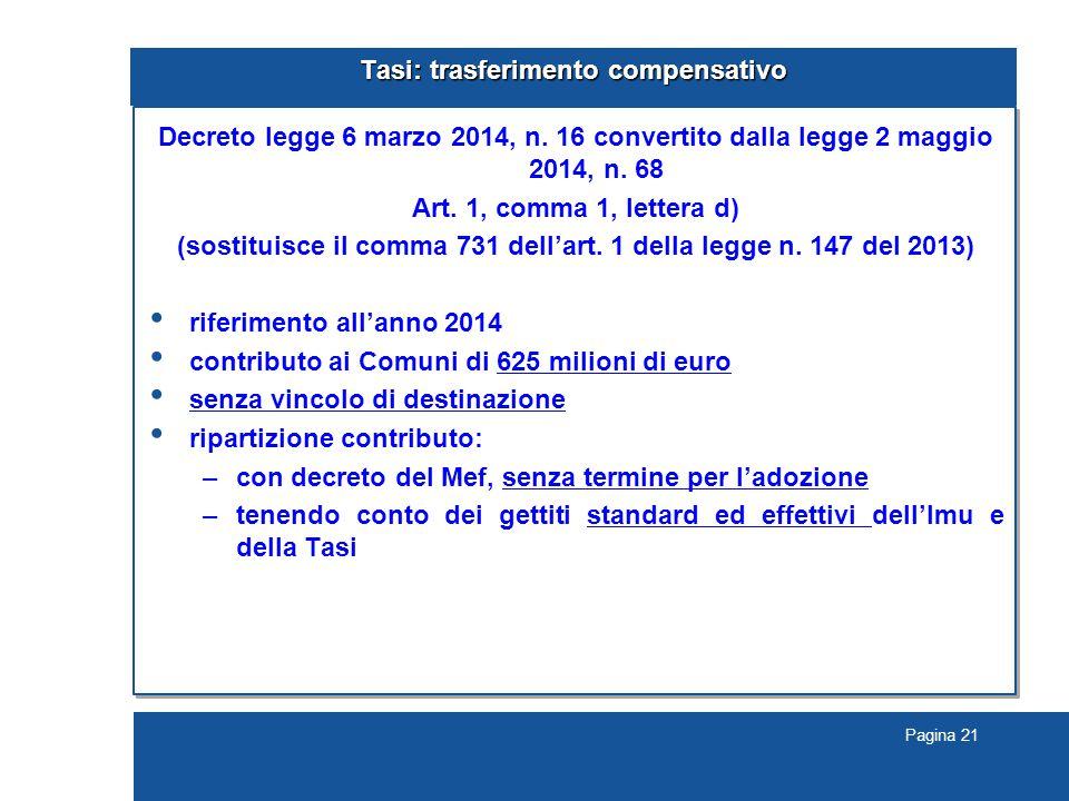 Pagina 21 Tasi: trasferimento compensativo Decreto legge 6 marzo 2014, n.