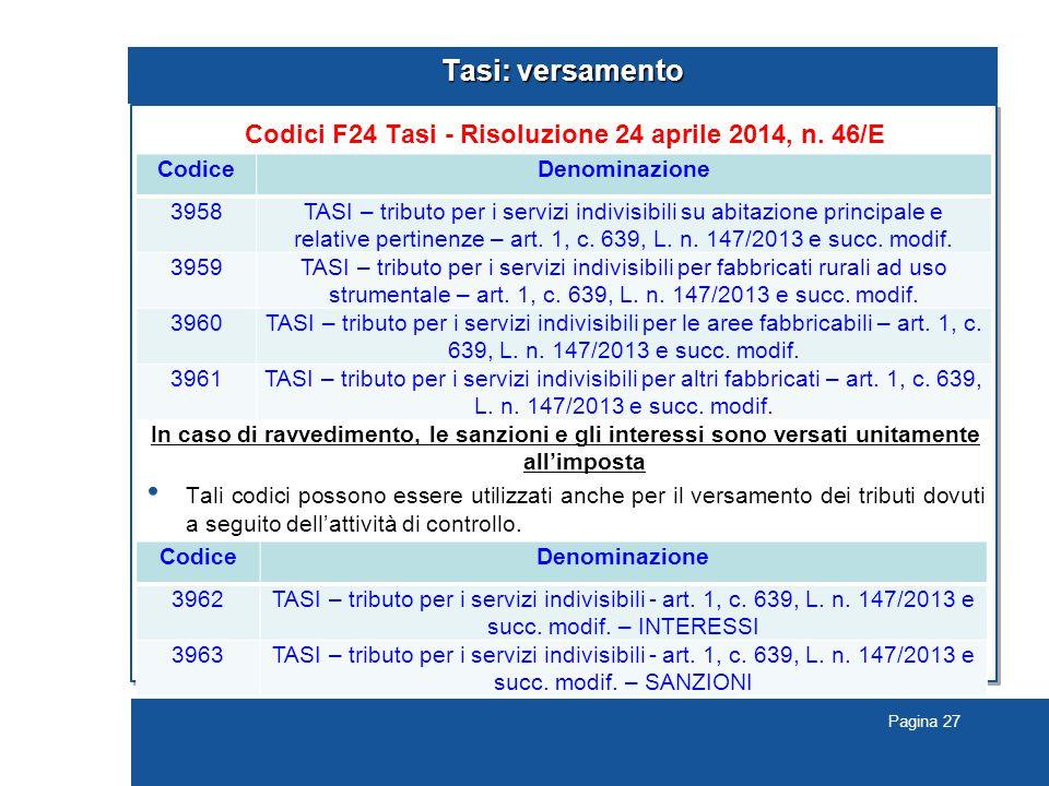 Pagina 27 Tasi: versamento Codici F24 Tasi - Risoluzione 24 aprile 2014, n.