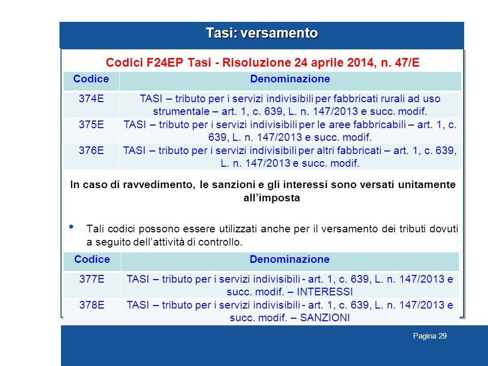 Pagina 29 Tasi: versamento Codici F24EP Tasi - Risoluzione 24 aprile 2014, n.