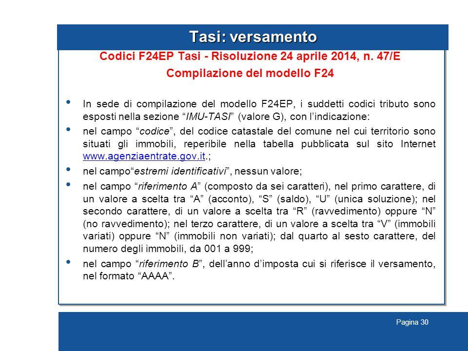 Pagina 30 Tasi: versamento Codici F24EP Tasi - Risoluzione 24 aprile 2014, n.