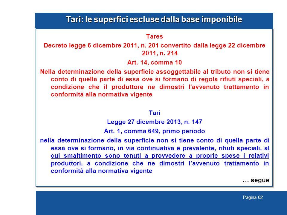 Pagina 62 Tari: le superfici escluse dalla base imponibile Tares Decreto legge 6 dicembre 2011, n.