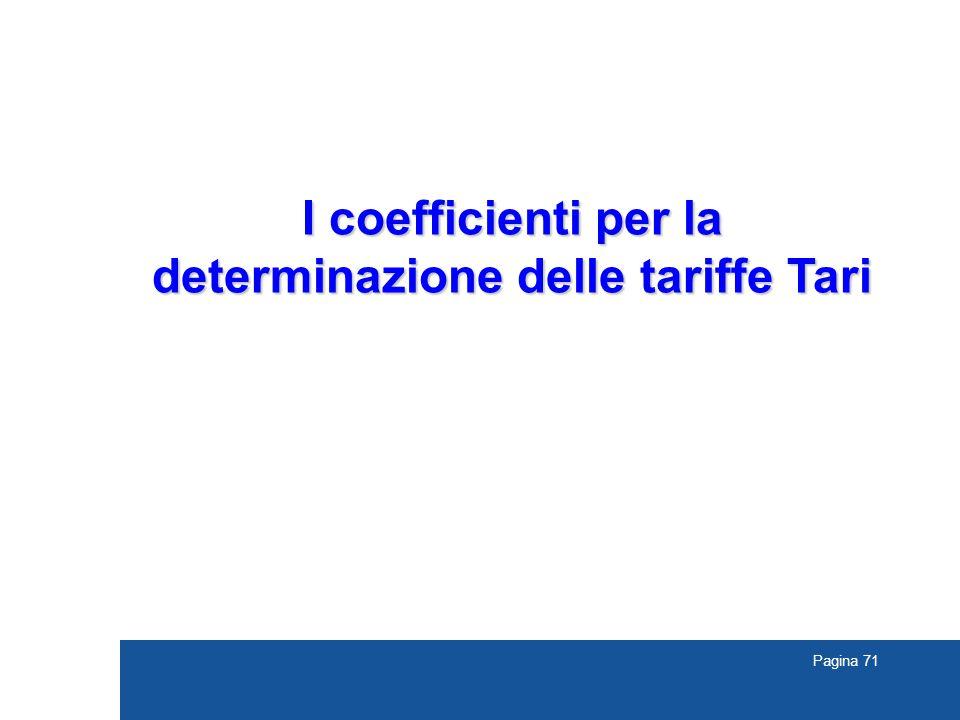 Pagina 71 I coefficienti per la determinazione delle tariffe Tari