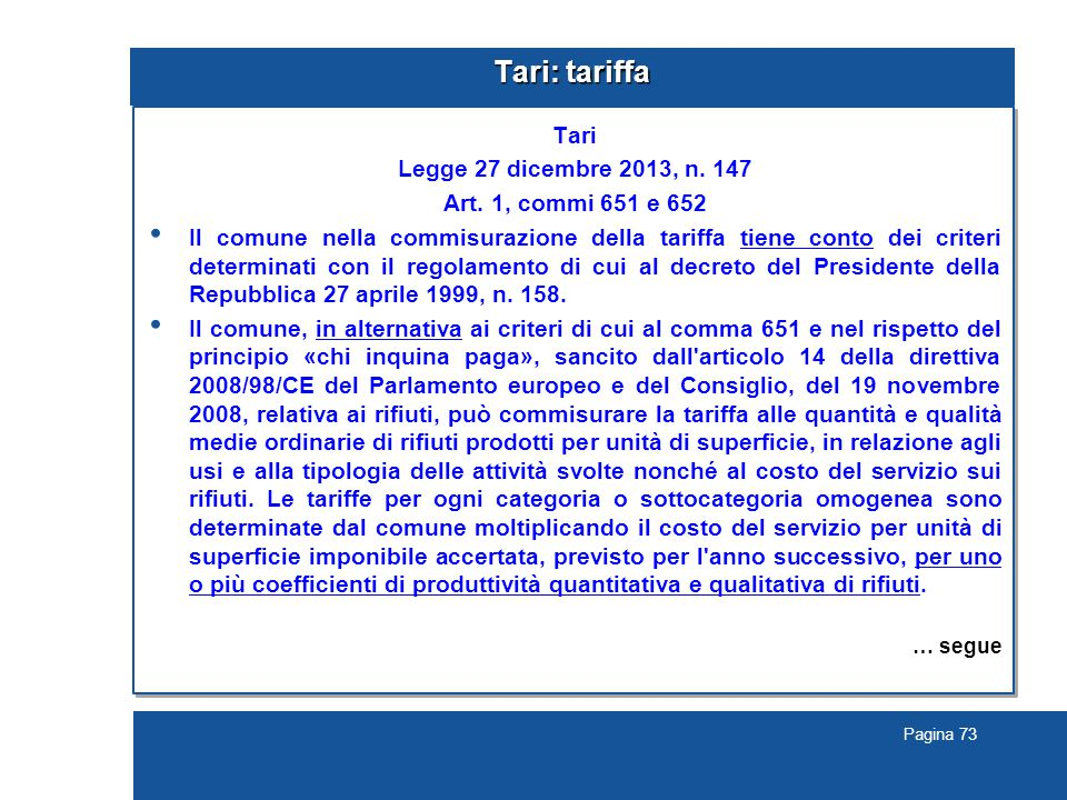 Pagina 73 Tari: tariffa Tari Legge 27 dicembre 2013, n.