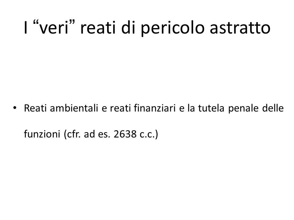 """I """"veri"""" reati di pericolo astratto Reati ambientali e reati finanziari e la tutela penale delle funzioni (cfr. ad es. 2638 c.c.)"""